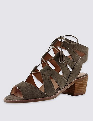 Leather Faux Snakeskin Print Ghillie Sandals with Insolia®, KHAKI, catlanding