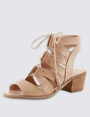 Leather Ghillie Sandals with Insolia®, NUDE, catlanding