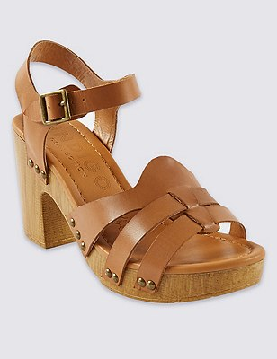 Leather Block Heel Clog Sandals with Insolia®, TAN, catlanding