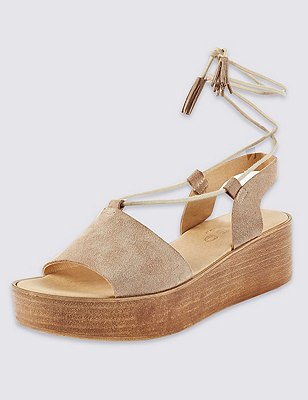 Stain Away™ Suede Two Part Wedge Sandals, NUDE, catlanding