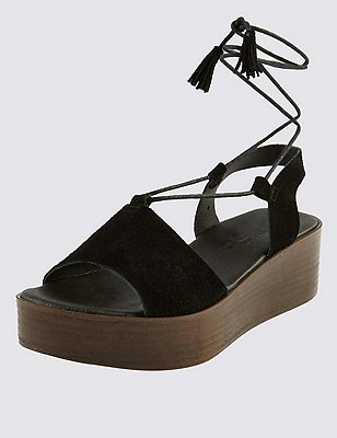 Stain Away™ Suede Two Part Wedge Sandals, BLACK, catlanding