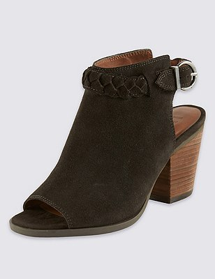 Suede Peep Toe Plait Shoe Boots with Stain Away™ & Insolia®, CHARCOAL, catlanding