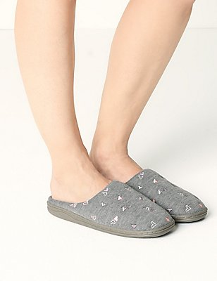 Heart Mule Slippers with Secret Support™, GREY MIX, catlanding