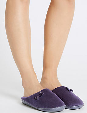 Spotted Bow Mule Slippers, PURPLE, catlanding