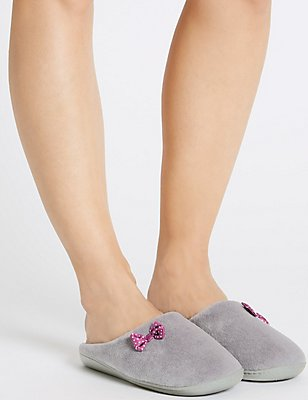 Spotted Bow Mule Slippers, DARK GREY, catlanding