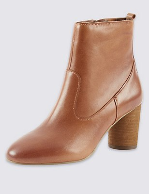 Leather Round Block Heel Ankle Boots with Insolia®, TAN, catlanding