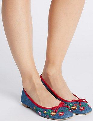 Block Heel Embroidered Pump Shoes, DENIM MIX, catlanding
