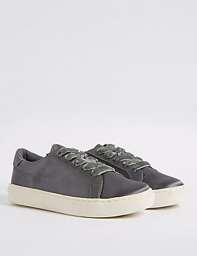 Lace-up Satin Velvet Trainers, GREY, catlanding