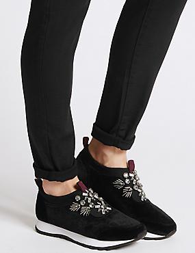 Embellished Slip-on Trainers , BLACK, catlanding