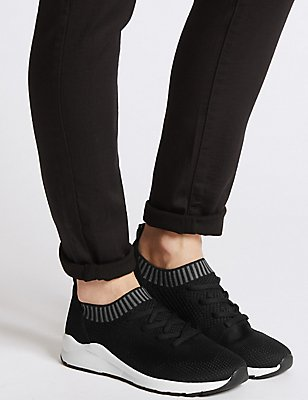 Lace-up Active Trainers, BLACK MIX, catlanding