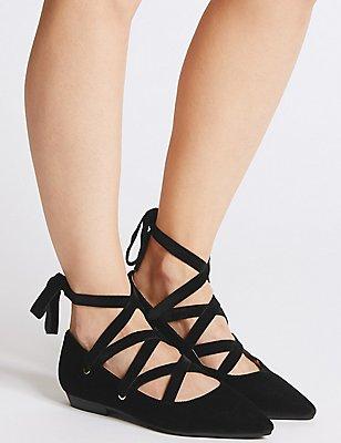 Lace-up Pump Shoes, BLACK, catlanding
