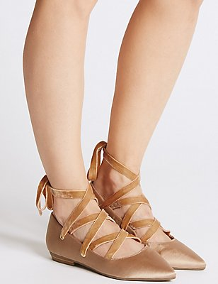 Lace-up Pointed Satin Pump Shoes, NUDE, catlanding