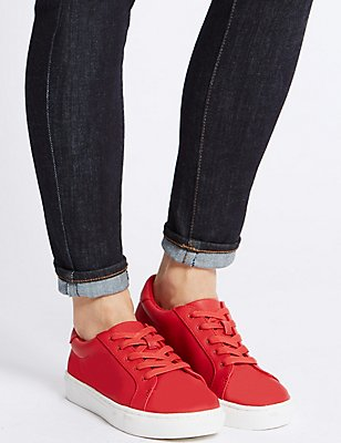 Lace-up Trainers, RED, catlanding