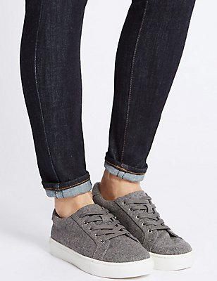 Lace-up Trainers, GREY, catlanding