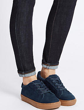 Fur Lace-up Trainers, NAVY, catlanding