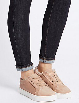 Fur Lace-up Trainers, SAND, catlanding