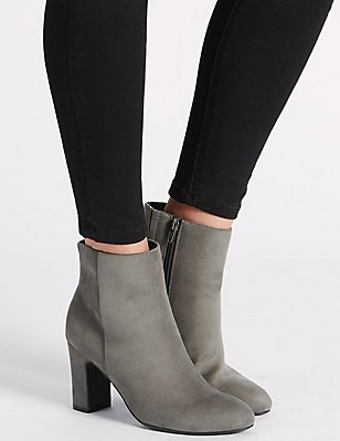 Block Heel Clean Ankle Boots with Insolia®, GREY, catlanding