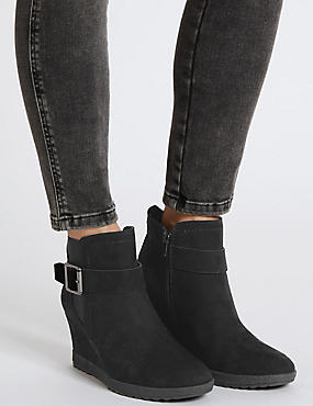Buckle Wedge Ankle Boot with Insolia®, BLACK, catlanding