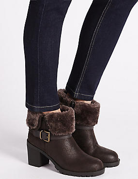 Faux Fur Ankle Boots with Insolia®, TAN, catlanding