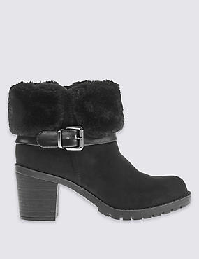 Faux Fur Ankle Boots with Insolia®, BLACK, catlanding