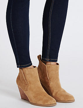 Wedge Heel Ankle Boots with Insolia®, TAN, catlanding