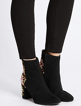 Block Heel Embroidered Ankle Boots , BLACK, catlanding