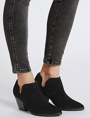 Mid Heel Western Ankle Boots with Insolia®, BLACK, catlanding