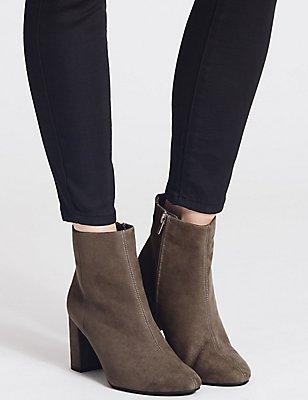 Block Heel Side Zip Ankle Boots, GREY, catlanding