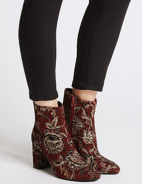 Block Heel Brocade Ankle Boots , RED, catlanding