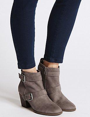 Block Heel Side Zip Ankle Boots, MINK, catlanding