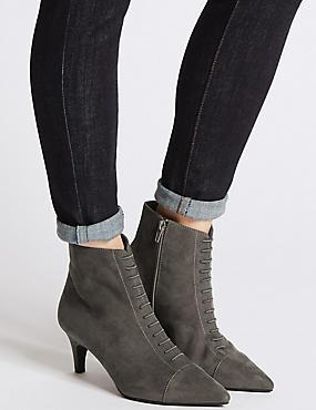 Kitten Heel Point Toe Ankle Boots , GREY, catlanding