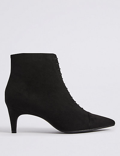 Lace Kitten Heel Ankle Boots | M&S