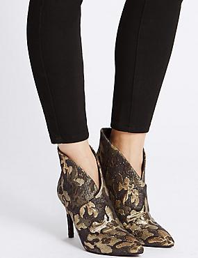 Stiletto Heel Wrap Ankle Boots, GOLD MIX, catlanding