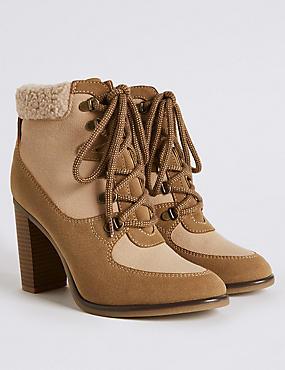 Block Heel Side Zip Ankle Boots, SAND, catlanding