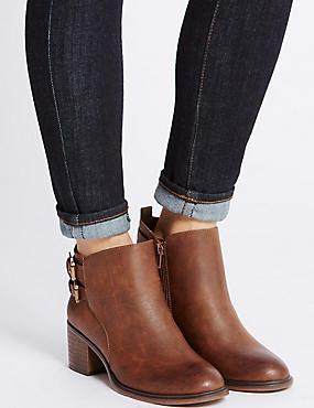 Block Heel Double Buckle Ankle Boots, BROWN, catlanding