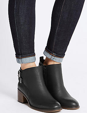 Block Heel Double Buckle Ankle Boots, BLACK, catlanding