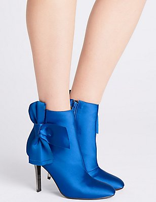 Stiletto Side Zip Bow Ankle Boots, COBALT, catlanding
