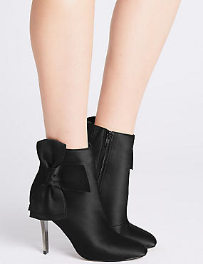 Stiletto Side Zip Bow Ankle Boots, BLACK, catlanding