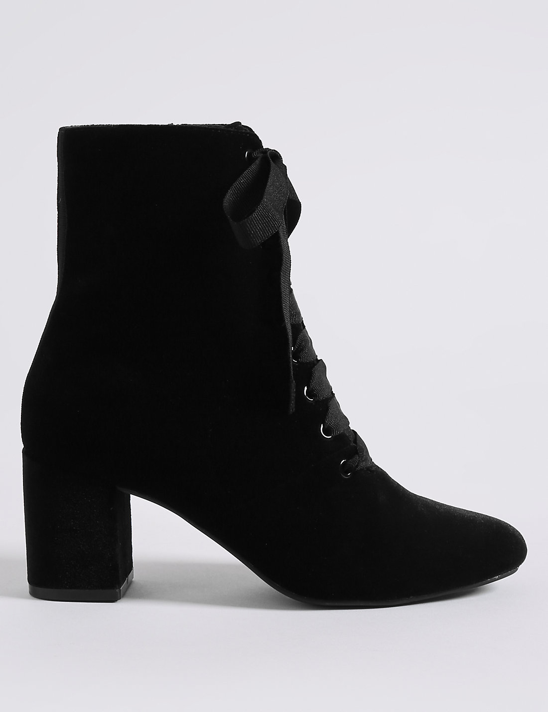 Block Heel Side Zip Lace-up Ankle Boots | M&S