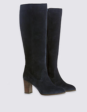 Suede Knee Boots with Insolia®, NAVY, catlanding