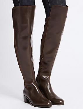 Leather Block Heel Over the Knee Boots, CHOCOLATE, catlanding