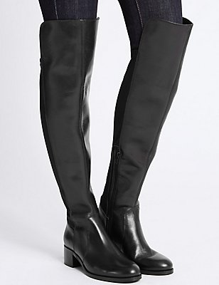 Leather Block Heel Over the Knee Boots, BLACK, catlanding