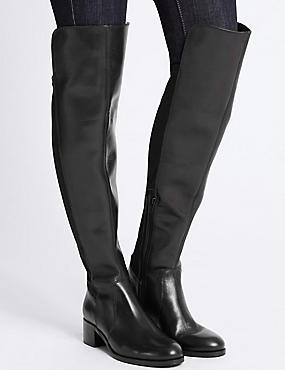 Leather Block Heel Over the Knee Boots, BLACK, catlanding