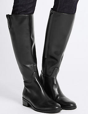 Leather Block Heel Rider Knee High Boots, BLACK, catlanding