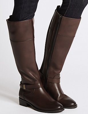 Leather Block Heel Rider Knee High Boots, CHOCOLATE, catlanding