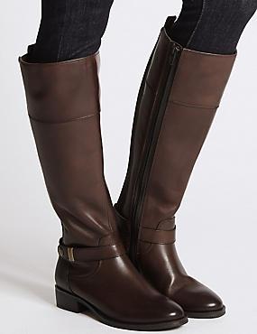 Leather Block Heel Rider Knee High Boots, CHOCOLATE, catlanding