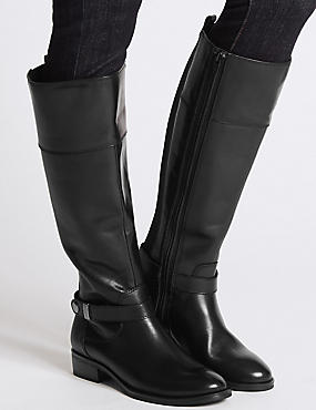 Leather Block Heel Rider Knee High Boots, BLACK, catlanding