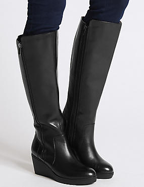 Leather Ruched Wedge Heel Knee High Boots, BLACK, catlanding