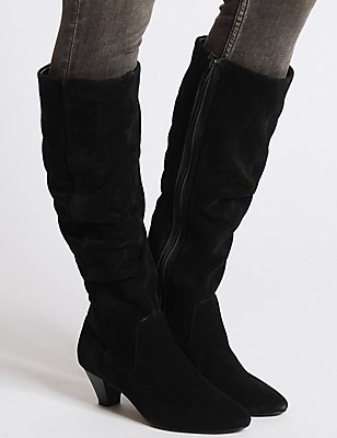 Suede Ruched Knee High Boots, BLACK, catlanding