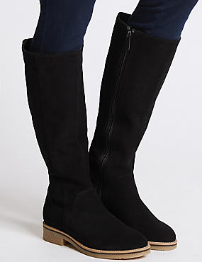 Leather Block Heel Knee High Boots, NAVY, catlanding